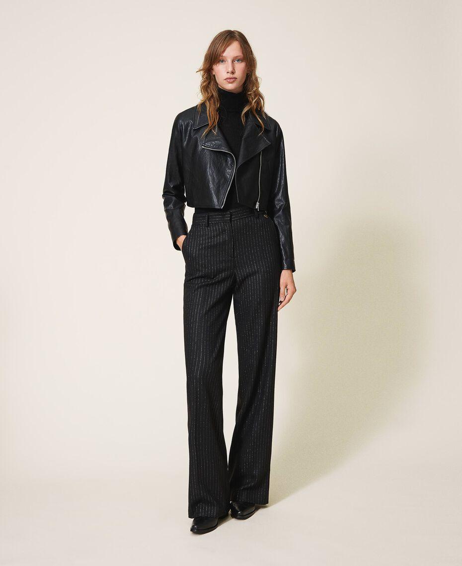 "Wool blend wide leg trousers Black / ""Lurex"" Gold Pin Stripe Woman 202TT2171-01"