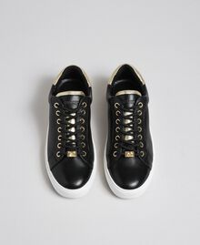 Leather trainers with contrasting details Black Woman 192TCP06E-05