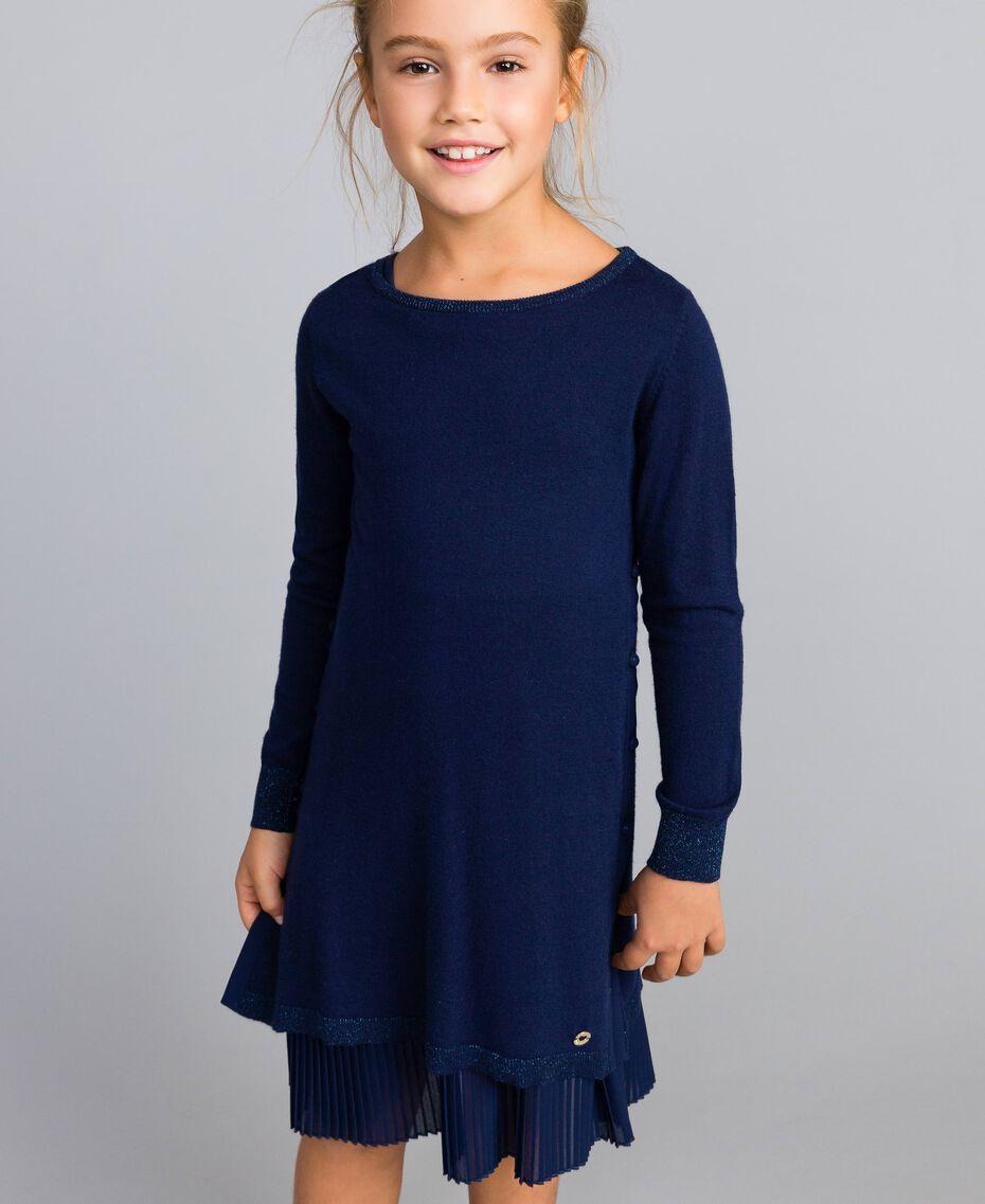Strickkleid und Unterkleid aus Jersey Blackout Blau Kind GA83B2-0S