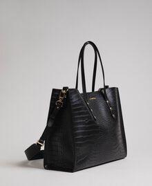 Grand sac cabas avec imprimé crocodile Imprimé Croco Noir Femme 192TA7274-02