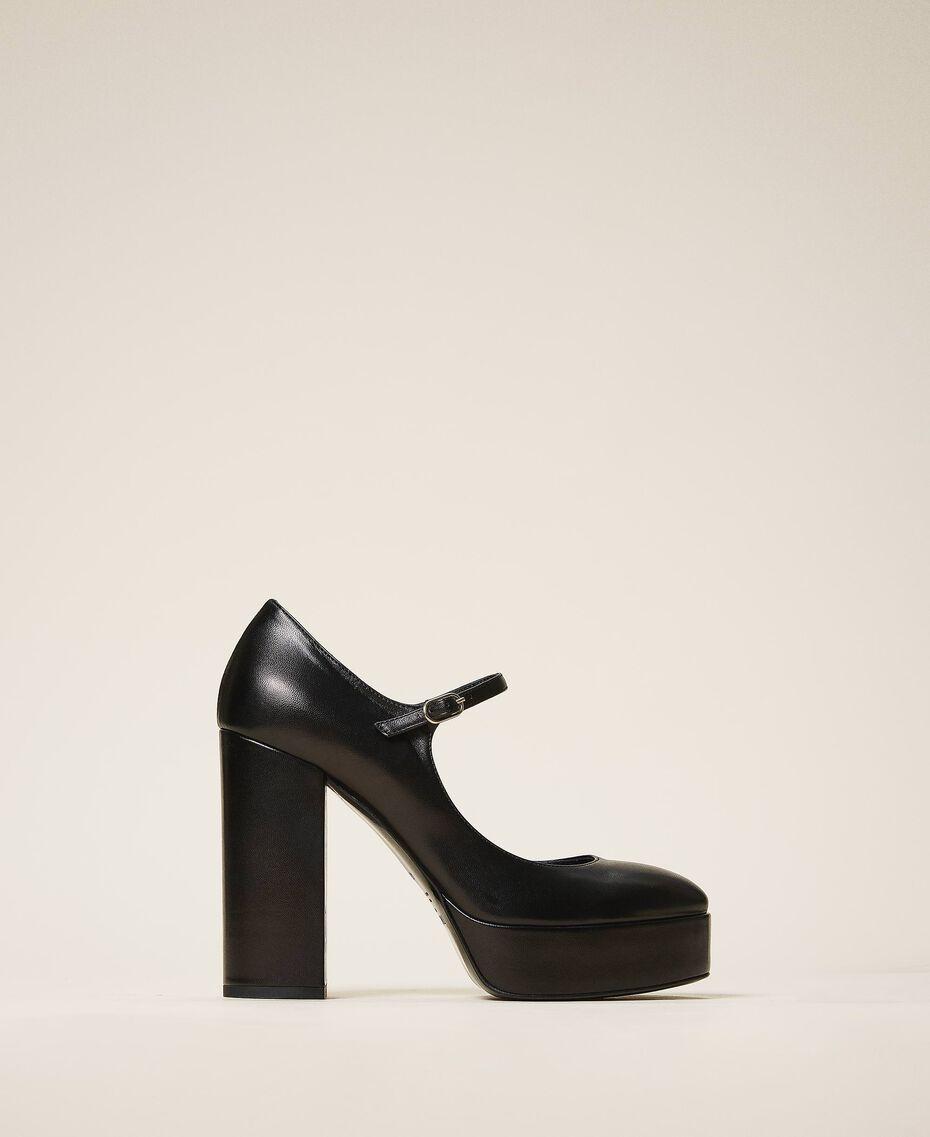 "Platform leather court shoes ""Nude"" Beige Woman 202TCP150-01"