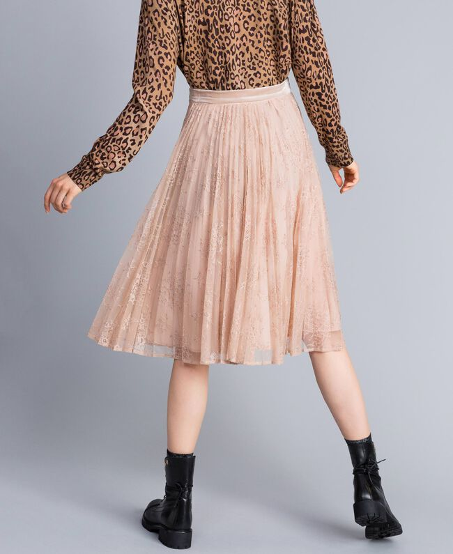 "Pleated lace skirt with lurex ""Nude"" Beige Woman SA82HH-03"