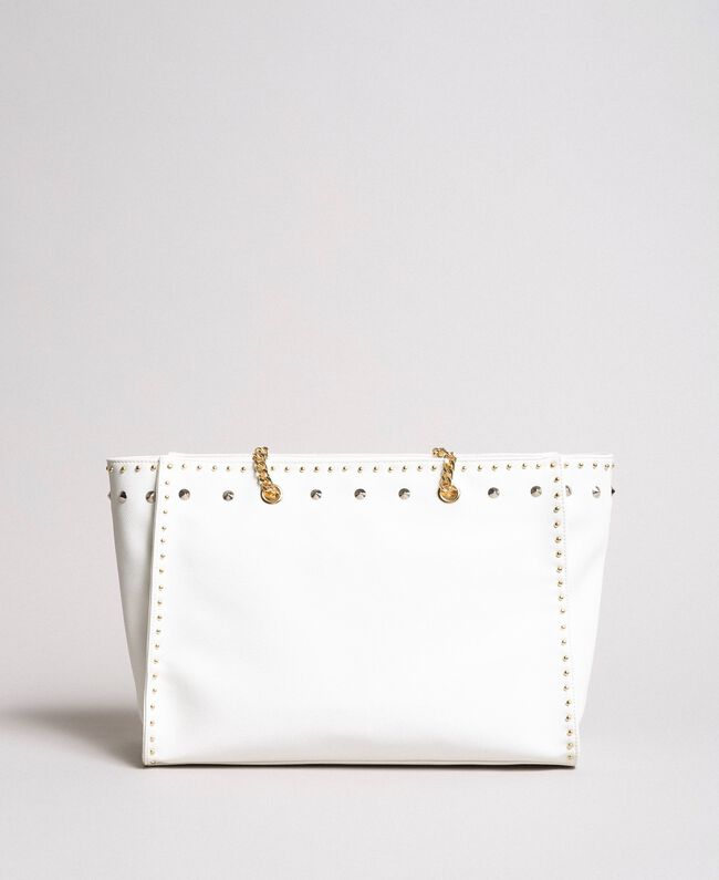Shopper aus Lederimitat mit Nieten White Sahne Frau 191MA7143-03