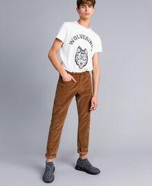 Hose aus Samt Toffee Beige Mann UA82CA-01