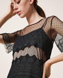 Платье из кружевного трикотажа и тюля Черный женщина 202TP3040-04