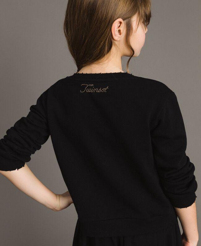 Cotton sweatshirt with multicolour stones Black Child 191GJ2311-04
