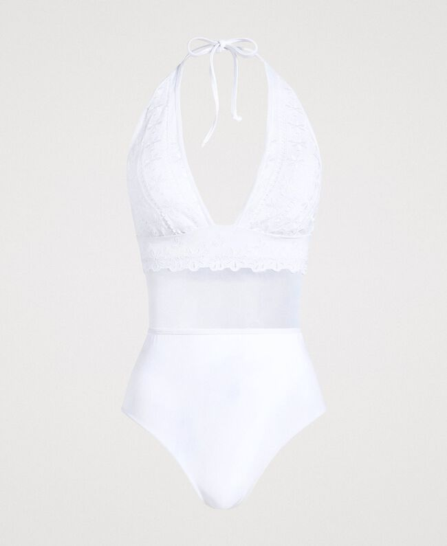 One-piece swimsuit with broderie anglaise embroidery and tulle White Woman 191LBMEZZ-01