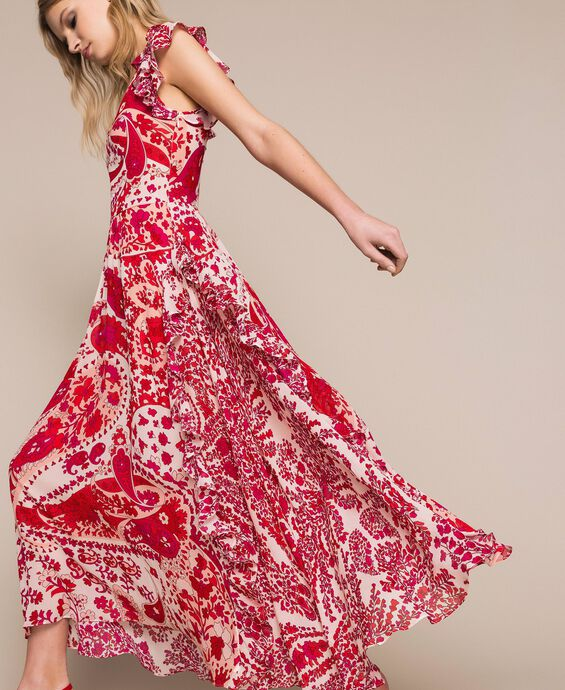 Paisley print georgette long dress