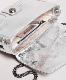Laminated leather Rebel shoulder bag Silver Woman 191TO8640-05