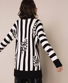 Maxi cardigan with print and slits Floral Print over Snow/ Black Stripes Woman 201TP3261-03