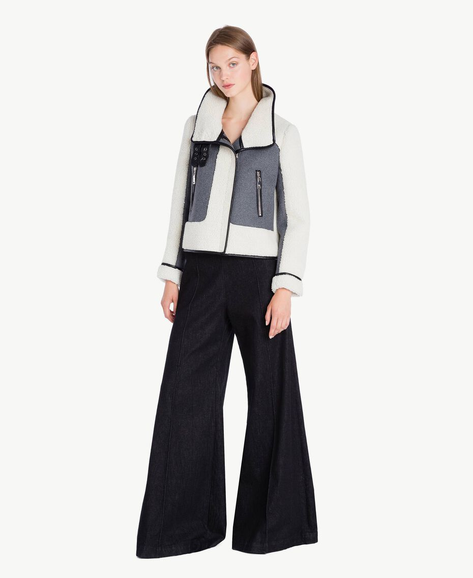 Jacke aus Schaffellimitat Grau Melange YA72A2-02