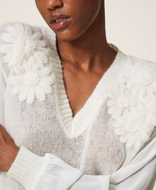 Mohair jumper with embroidery Creamy White Woman 202TP3260-05