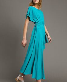 Silk blend long dress Tile Blue Woman 191TT2079-02
