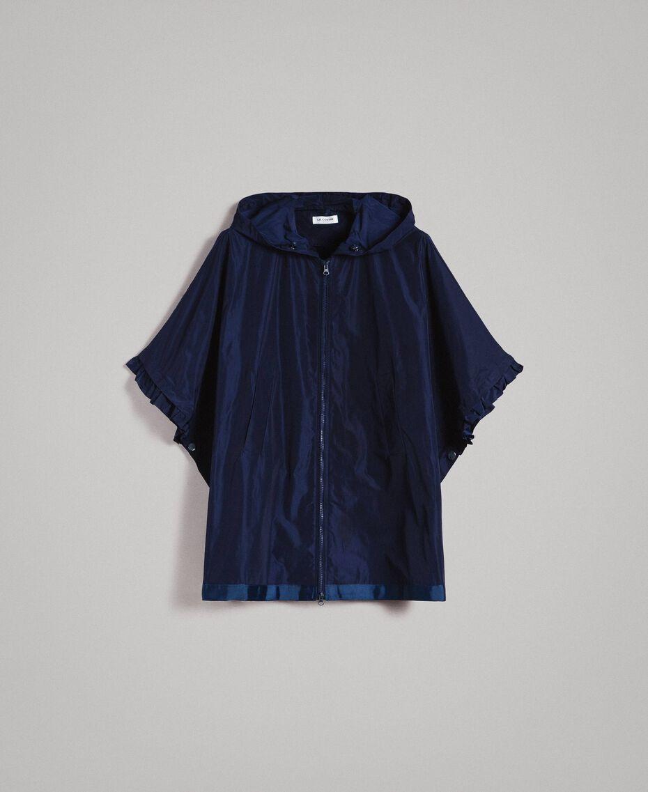 Taffeta poncho with hood Blue Shadow Woman 191ST2010-0S