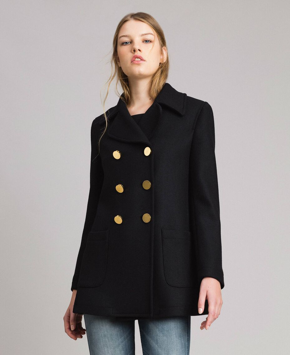 Mantel aus Tuchstoff Schwarz Frau 191MP2461-05