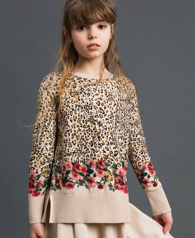 Floral and animal print jumper Leopard Print / Floral Child 192GJ3181-01