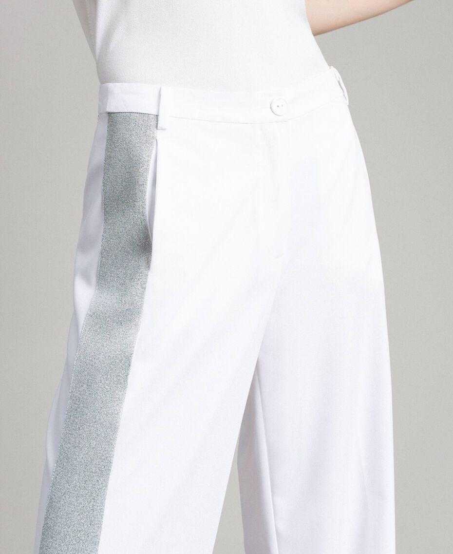 Pantalon palazzo avec panneaux en lurex Blanc Femme 191LL25BB-02