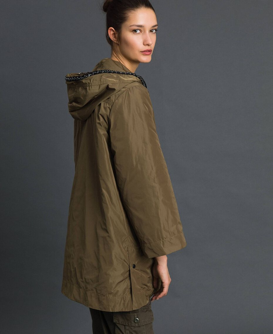 """Taffeta padded parka coat """"Military"""" Green with Gold Sequins Woman 192TP2490-02"""