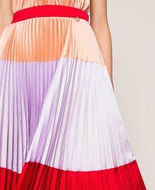 "Pleated long satin skirt Multicolour ""Lava"" Red / ""Ballerina"" Purple / Nude Pink Woman 201TP2313-04"