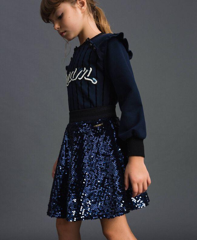 Jupe corolle en velours avec sequins Blue Night Enfant 192GJ2093-01