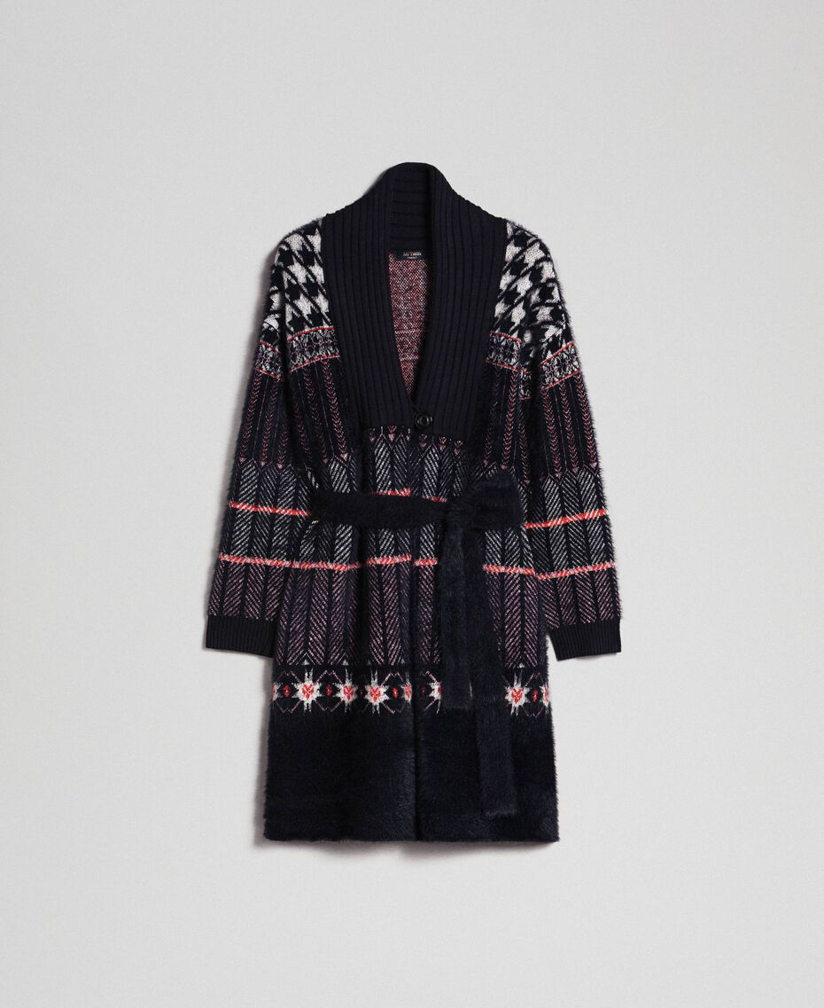Jacquard knit coat Black Woman 192MT3210-0S