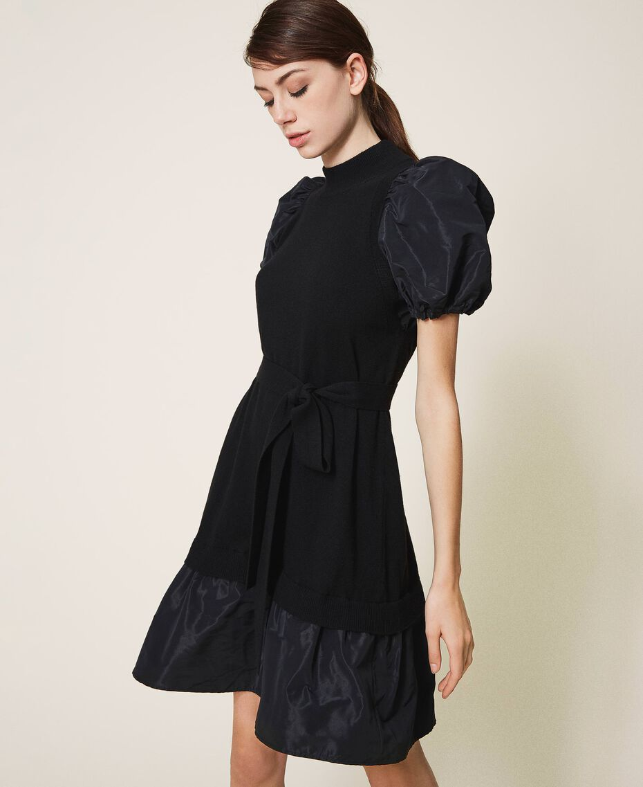Taffeta and wool blend dress Black Woman 202TP3251-02