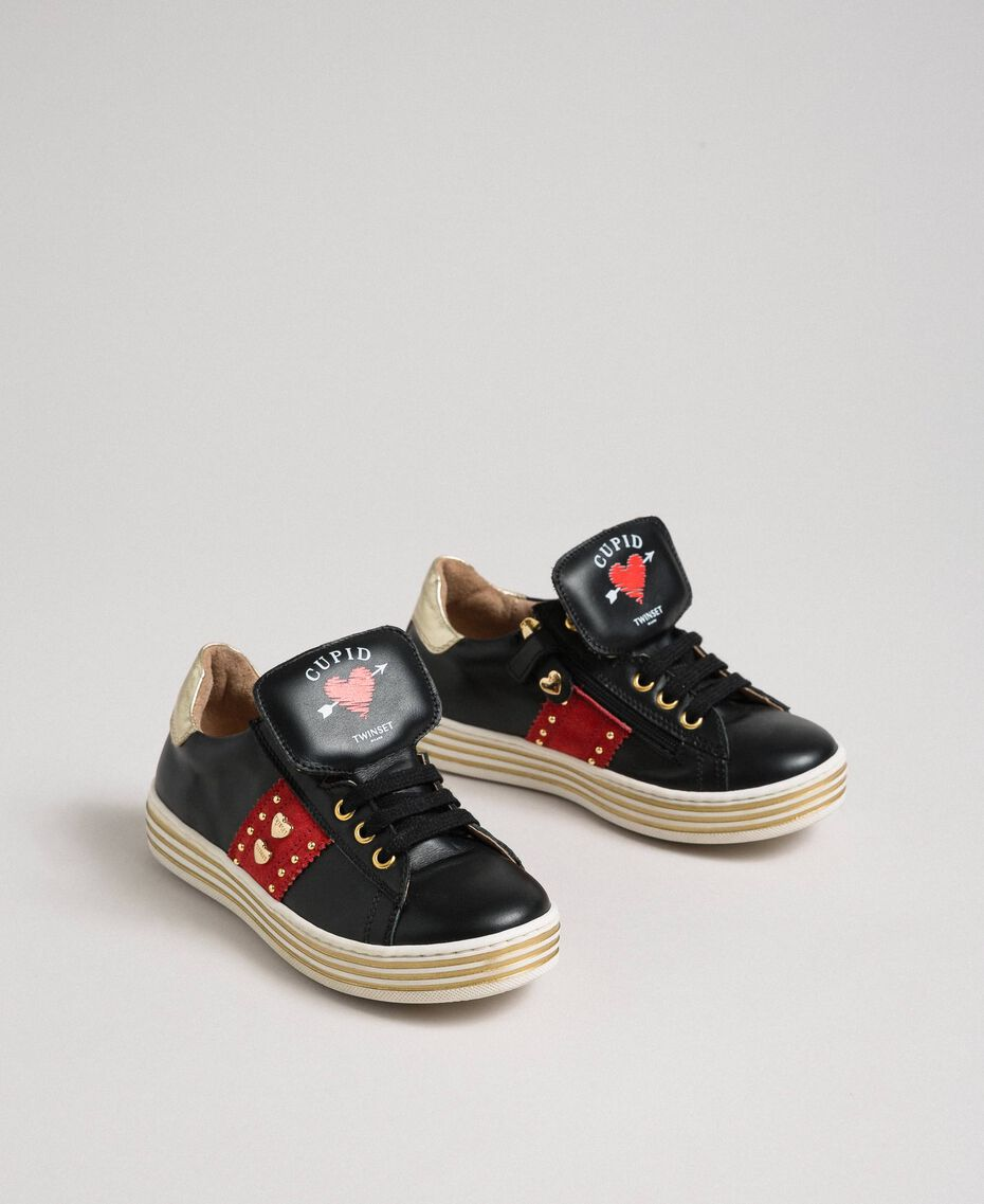 Leather trainers with hearts and studs Black Child 192GCJ012-02