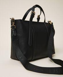 Faux leather shopping bag Black Woman 202TD8110-04