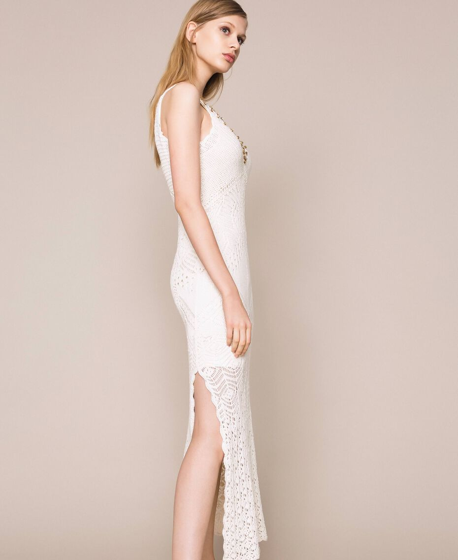 Long dress with crochet details and embroideries White Snow Woman 201TT3150-02