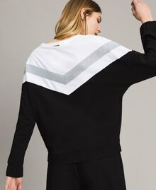 Gabardine sweatshirt with lurex insert Two-tone Black / Optical White Woman 191LL25EE-04
