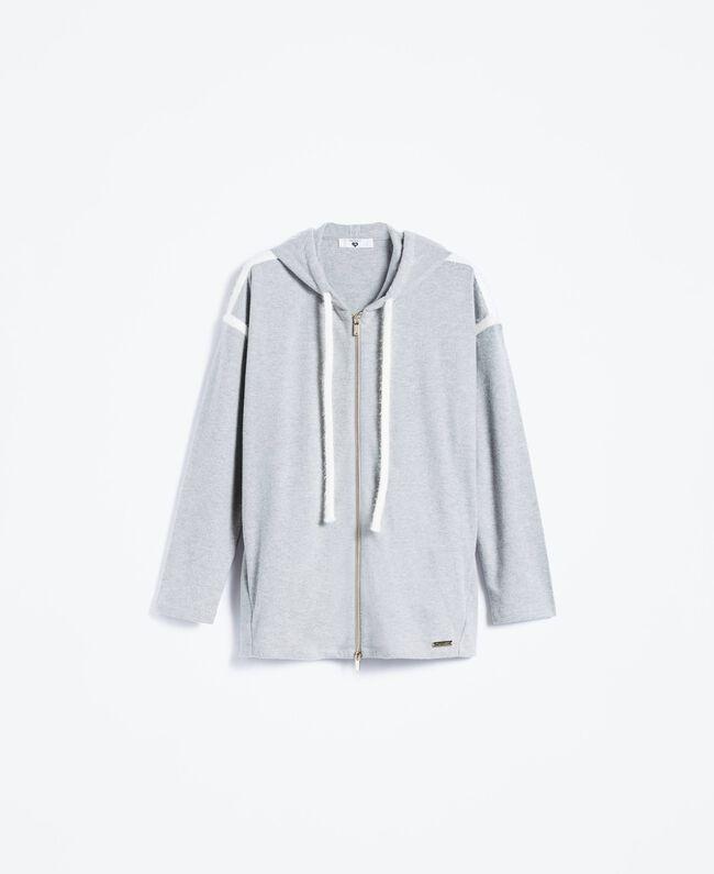 Cotton blend sweatshirt with hood Medium Gray Mélange Woman LA8MDD-01