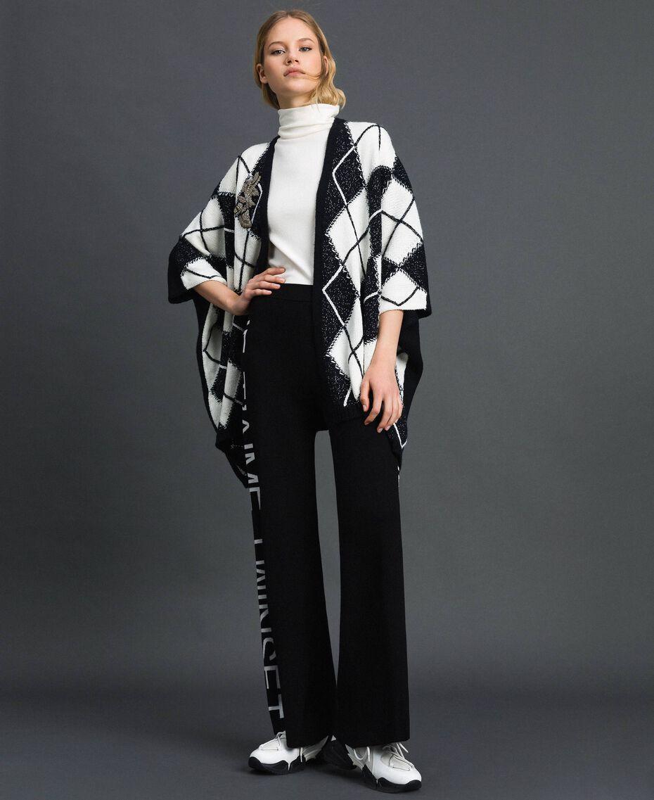 Pantalon palazzo en maille avec logo Jacquard Noir / Blanc Neige Femme 192TP3329-02