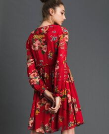 Floral print georgette dress Pomegranate Meadow Print Woman 192TP2752-03