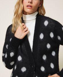 Polka dot jacquard maxi cardigan Two-tone Black / Snow White Jacquard Woman 202TT3222-04