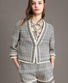 "Ethnic-motif jacquard jacket ""Marzipan"" Beige / Black Jacquard Woman 191TT2431-01"
