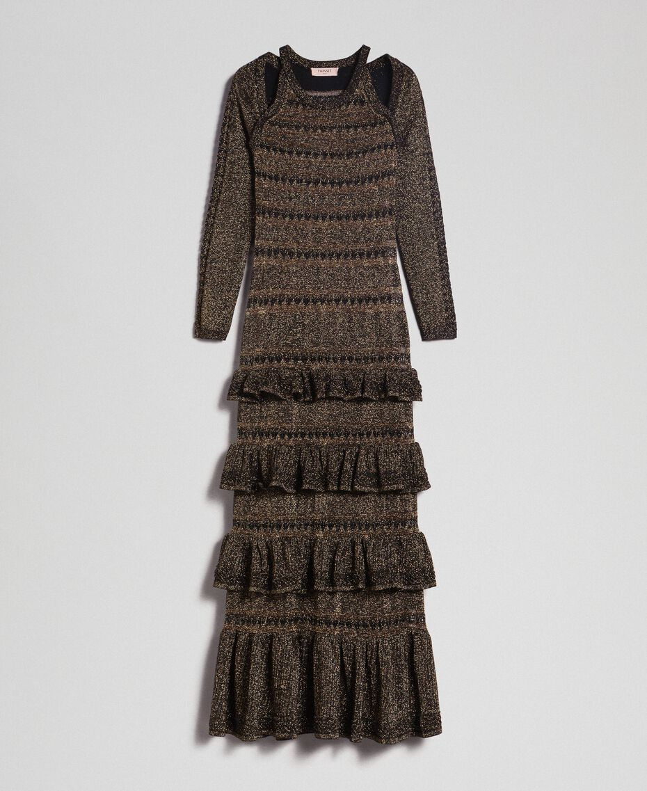 Lurex knit long dress with flounces Black Striped / Lurex Woman 192TT3220-0S
