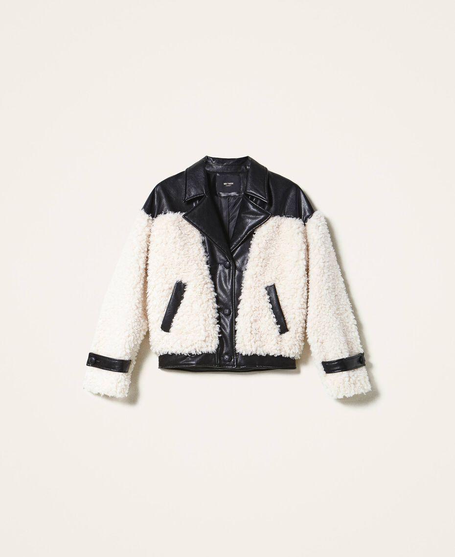 Bomber en fausse fourrure Bicolore Noir / Tissu Blanc Femme 202MP2270-0S