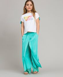 "Flowing fabric trousers with lace ""Island Paradise"" Light Blue Child 191GJ2430-03"