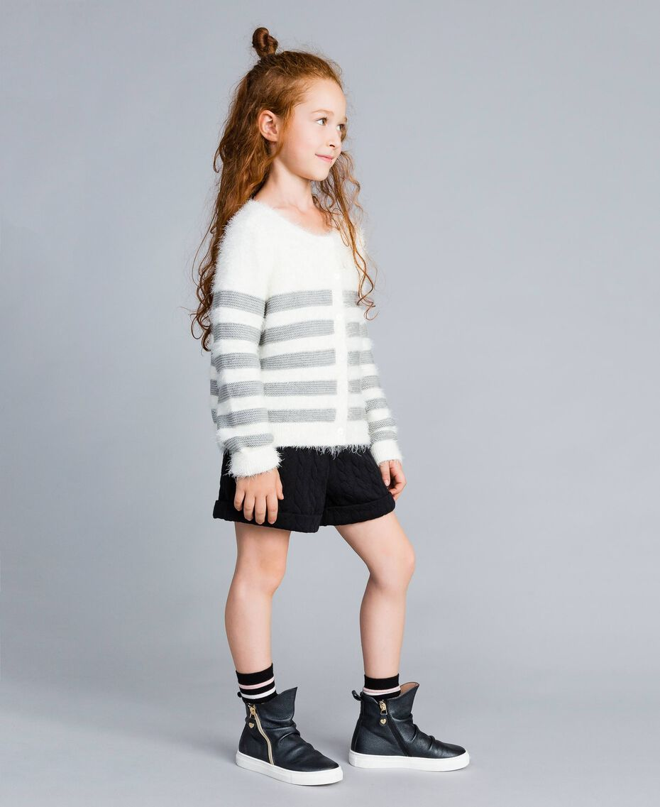 "Wool blend striped cardigan Bicolour Off White / ""Stone"" Grey Child GA83E2-02"