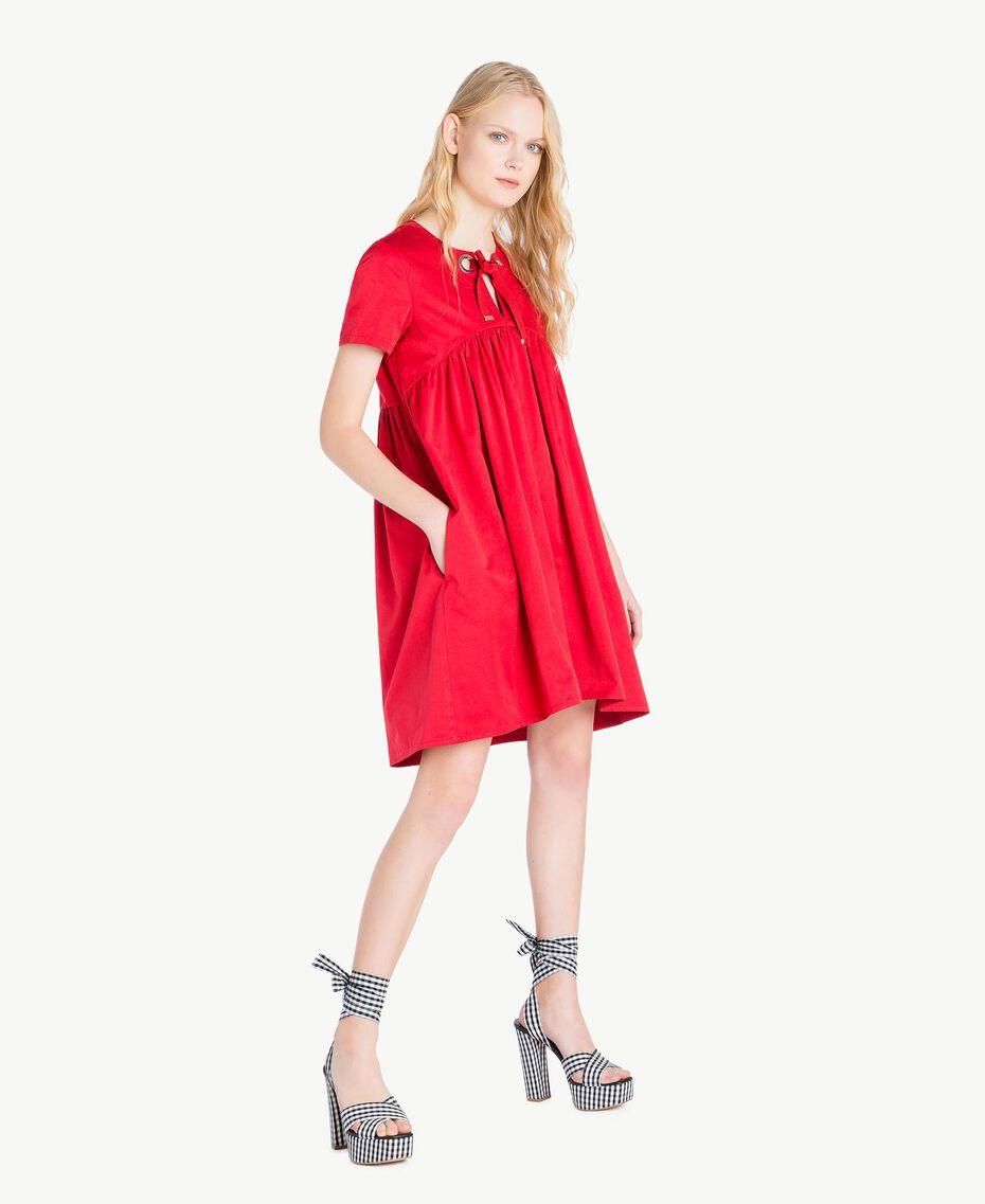 Asymmetrisches Kleid Hochrot Frau JS82QS-02
