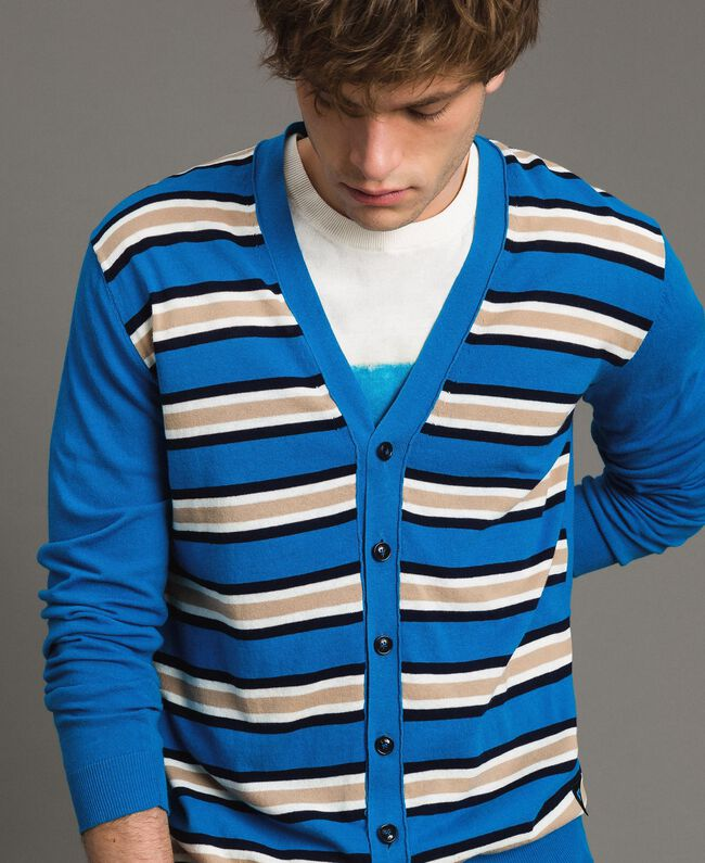 "Crêpe cotton striped cardigan Multicolour Bay Blue / ""Blackout"" Blau / Opaque White Man 191UT3032-04"