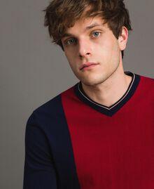 "Crêpe cotton jumper with inlay pattern Multicolour ""Blackout"" Blue / ""Dark Raspberry"" Red / Beige Porcelain Man 191UT3020-04"