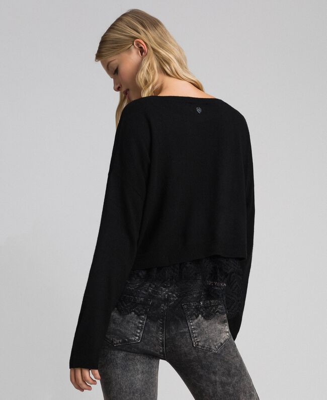 Boxy jumper with crêpe and lace top Black Woman 192TT3085-03