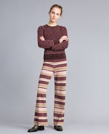 Striped lurex palazzo trousers Multicolour Pink / Burgundy Woman PA832Q-0T