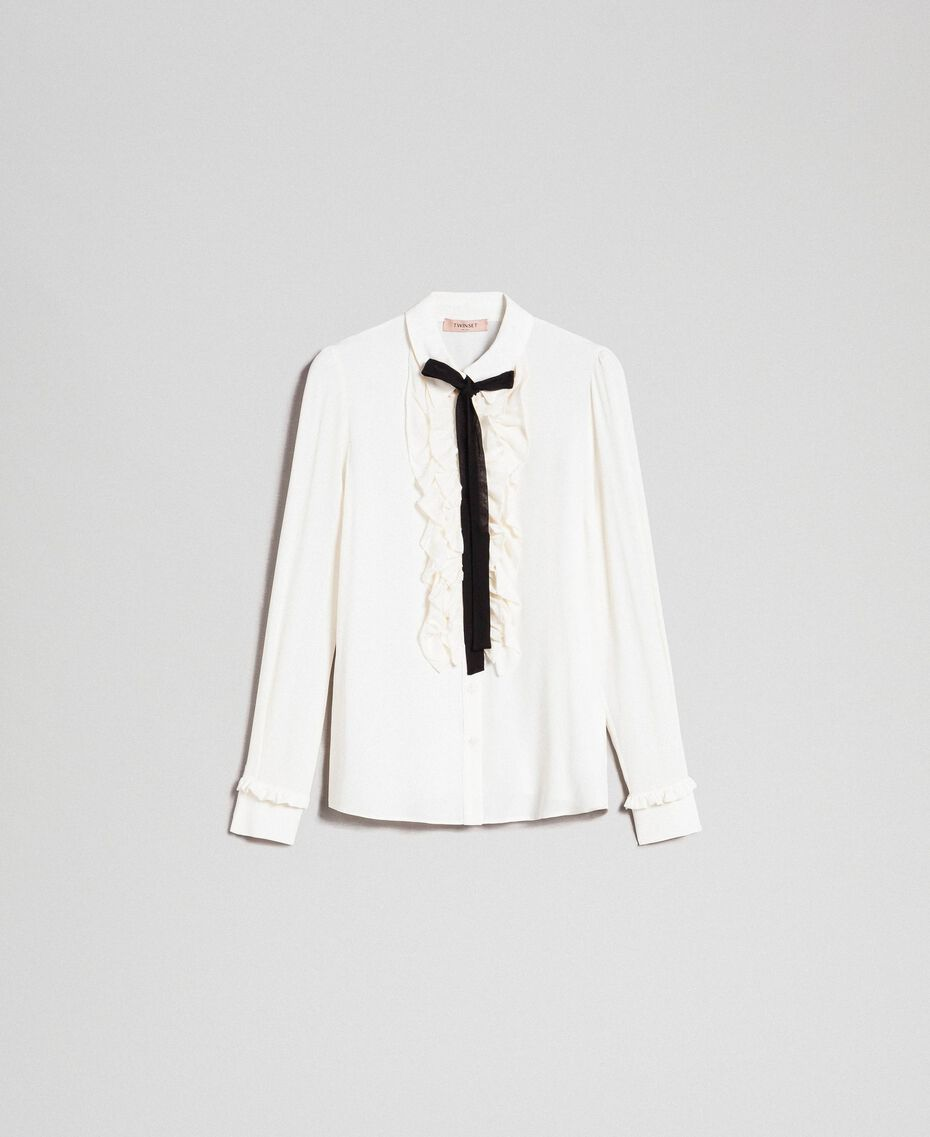 Crêpe de Chine shirt with frills White Snow Woman 192TT2431-0S