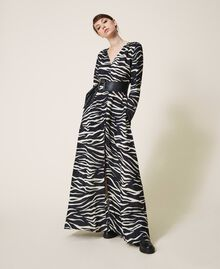 Animal print crêpe de Chine dress Black / Cream White Zebra Print Woman 202MP2430-01