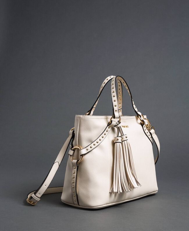 Borsa shopper in similpelle con borchie Bianco Neve Donna 192TO8160-04
