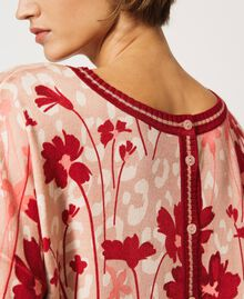 """Floral jumper-cardigan Peach / """"Cherry"""" Red Flowers Animal Print Woman 202TP3500-04"""