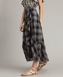 Long check cotton skirt Blue Shadow Check Jacquard Woman 191ST2133-02