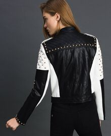 Faux leather biker jacket with studs Two-tone Black / Lily Woman 192MT2040-03